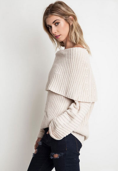 7ce5254bbad Chunky Thick Foldover Off the Shoulder Knit Sweater Top-Off White