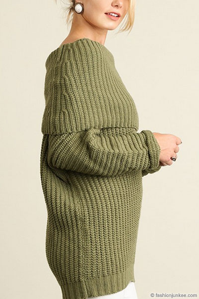 69877c3ff2 Chunky Thick Foldover Off the Shoulder Knit Sweater Top-Olive Green