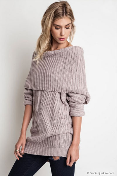 Chunky Thick Foldover Off The Shoulder Knit Sweater Top Taupe