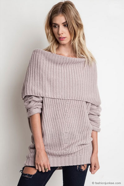7695bcbb1a4 Chunky Thick Foldover Off the Shoulder Knit Sweater Top-Taupe