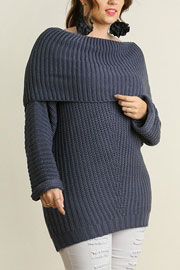 PLUS SIZE Chunky Thick Foldover Off the Shoulder Knit Sweater Top-Dusty Blue