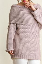 PLUS SIZE Chunky Thick Foldover Off the Shoulder Knit Sweater Top-Taupe