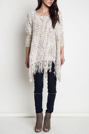 Chunky Thick Knit Sweater with Fringe Hem-Beige (FLASH SALE: LIMITED TIME DEAL)