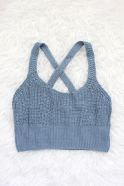 Knit Crochet Cropped Tank Top-Blue