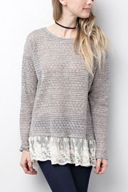 Knit Long Sleeve Tunic top with Lace Trim Bottom Hem-Grey