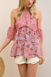 Adorable Lace and Floral Print Open Shoulder Top-Blush Pink