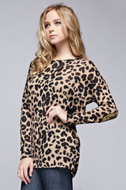 Leopard Animal Print Long Sleeve Tunic Top with Elbow Patch & Pockets-Mocha Brown