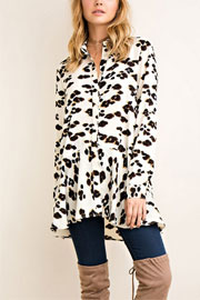 Leopard Print Peplum Ruffle Bottom Button Up Tunic Top-Off White