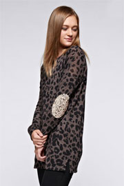 Sequin Elbow Patch Leopard Animal Print Long Sleeve Tunic Top with Pockets-Brown