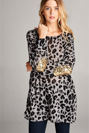 Sequin Elbow Patch Leopard Animal Print Long Sleeve Tunic Top with Pockets-Grey