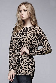 Sequin Elbow Patch Leopard Animal Print Long Sleeve Tunic Top with Pockets-Mocha
