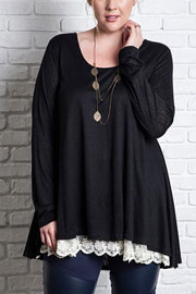 PLUS SIZE Long Sleeve Knit Lace Trim Hem Tunic Top-Black