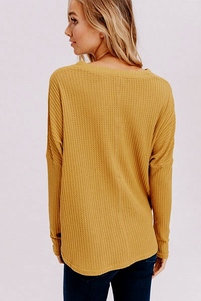 dde6c53f828d86 Long Sleeve Henley Thermal Waffle Knit Button Up Top with Front Knot ...