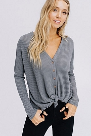 Long Sleeve Henley Thermal Waffle Knit Button Up Top with Front Knot-Grey