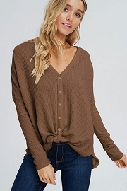 FLASH DEAL! ENDS SOON - Long Sleeve Henley Thermal Waffle Knit Button Up Top with Front Knot-Mocha Brown