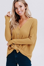 Long Sleeve Henley Thermal Waffle Knit Button Up Top with Front Knot-Mustard Yellow