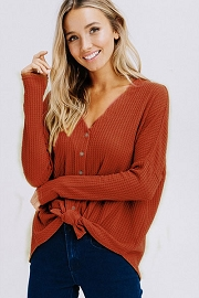 FLASH DEAL! ENDS SOON - Long Sleeve Henley Thermal Waffle Knit Button Up Top with Front Knot-Rust
