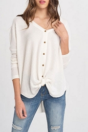 Long Sleeve Thermal Waffle Knit Button Up Top with Knot-Ivory Off White