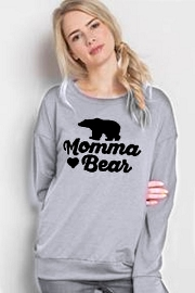 Long Sleeve Solid Graphic Top - Momma Bear-Grey