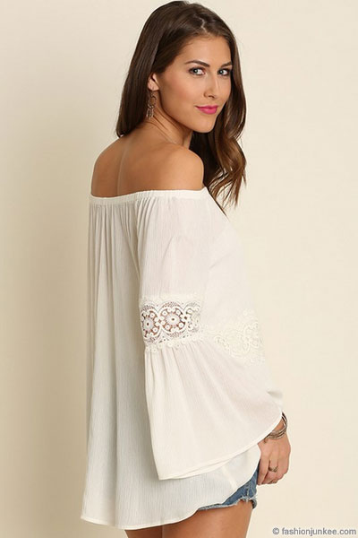 880b3db599921 Boho Lace Detail Bell Sleeve Elastic Off the Shoulder Peasant Top ...