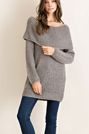 Off the Shoulder Thick Ribbed Knit Sweater Top-Grey