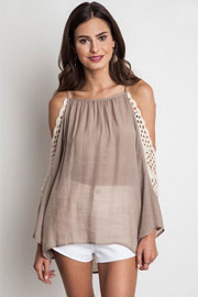 FLASH DEAL: Boho Long Sleeve Open Shoulder Crochet Tunic Top-Mocha Taupe