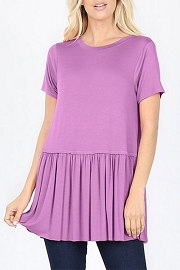 Basic Short Sleeve Loose Peplum Top-Lavendar Purple