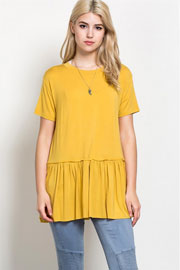Basic Short Sleeve Loose Peplum Top-Mustard yellow