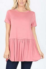 Basic Short Sleeve Loose Peplum Top-Pink