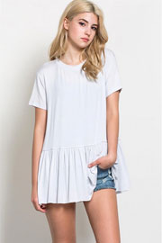 Basic Short Sleeve Loose Peplum Top-White