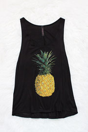 :As Seen In STYLEWATCH Magazine: Jersey Pineapple Print Tank Top-Black