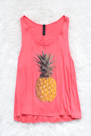 :As Seen In STYLEWATCH Magazine: Jersey Pineapple Print Tank Top-Coral