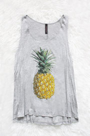 :As Seen In STYLEWATCH Magazine: Jersey Pineapple Print Tank Top-Grey