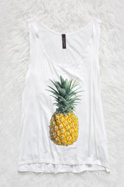 :As Seen In STYLEWATCH Magazine: Jersey Pineapple Print Tank Top-White