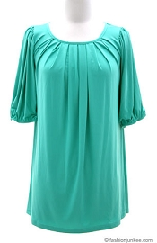 :As Seen in PEOPLE MAGAZINE: Pleated Balloon Sleeve Top-Sea Green
