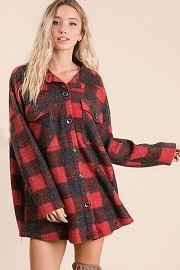 Buffalo Plaid Check Print Knit Boxy Button Up Top-Red and Black