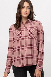 Long Sleeve Plaid Button Up Shirt-Pink