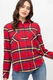 Long Sleeve Plaid Button Up Shirt-Red