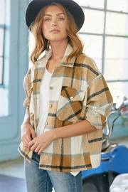 Oversized Plaid Shirt Jacket Shacket-Brown and White