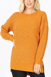 Long Sleeve Soft Popcorn Sweater-Mustard Yellow