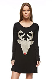 Long Sleeve Glitter Red Nose Reindeer Tunic Top Dress-Black