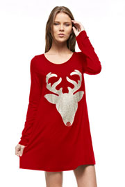 Long Sleeve Glitter Red Nose Reindeer Tunic Top Dress-Red