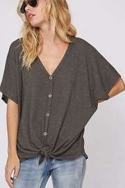 Short Sleeve Thermal Button Up Waffle Knit Knotted Top-Charcoal Grey