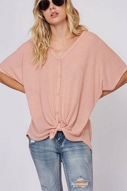 Short Sleeve Thermal Button Up Waffle Knit Knotted Top-Blush Pink