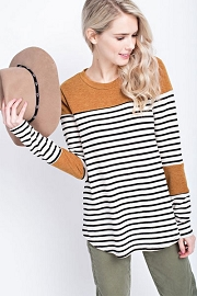 Long Sleeve Striped Color Block Tunic Top-Mustard, Black & White