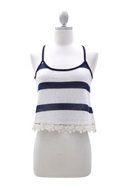 Cropped Striped Crochet Trim Tank Top-Blue & Beige