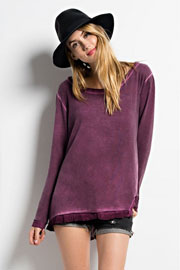 French Terry Oil Wash Oversized Long Sleeve Unbalanced Top-Plum Purple