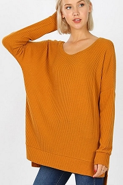 Long Sleeve Thermal Waffle Knit Tunic Top-Mustard Yellow