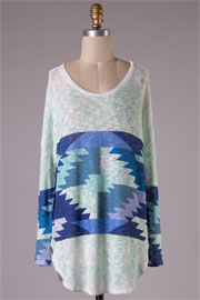 Knit Tribal Aztec Print Long Sleeve Tunic Top-Blue, Mint & White