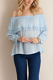 Off the Shoulder Flowy Overlay Top-Blue